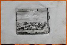 VAN DER AA Gravure originale c1725 VUE DE RICHELIEU Poitou Indre-et-Loire