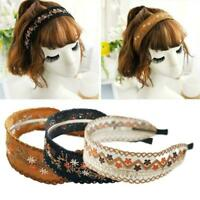 Women Lady Retro Boho Embroidery Cotton Wide Hair Headband Head Band Wrap C8Y9