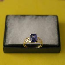SUPERB 9CT YELLOW GOLD LABORATORY TANZANITE & DIAMOND RING SIZE O12 IN GIFT BOX
