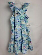 Vineyard Vines Target Girls L 10 / 12 Island Scene Blue Scoop Neck Ruffle Dress