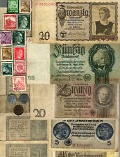 NAZI GERMANY BANKNOTE, COIN AND STAMP SET  # 64