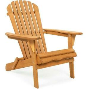 Foldable Outdoor Patio Adirondack Wood Chair Patio Lawn Garden Pool Deck Lounge