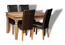DINING ROOM FURNITURE JALI NATURAL 120CM DINING TABLE & 4 LEATHER CHAIRS (J40N)