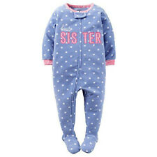 Carter's Best Sister Blue Pink Sleeper NEW NWT 18 mo Footed Feet Grippers Fleece