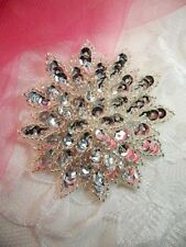 "Silver Sequin Applique Floral Beaded Iron on Patch Crafts DIY 3"" (XR364)"