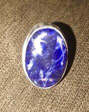 Bold Blue Sodalite Handmade Men's Sterling Silver Ring Size-7.75