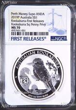 2019 Kookaburra 1oz $1 Silver Coin Square Penny Privy Mark NGC MS70 ANDA FR