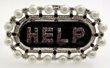 Silver Help Bracelet with Pearls Size 6 1/2 made by Chuns