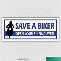 Save a Biker Think Bike Decal Sticker Wall Car Van Laptop Bike