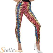 Ladies Neon Leopard Print Leggings Colorful Rainbow 1980s Fancy Dress Outfit