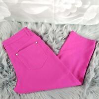 Venus Women's Capri Pants Size 6 Straight Leg Hot Pink Jeweled Embellishments