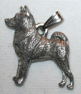 Norwegian Elkhound Dog Harris Fine Pewter Pendant Jewelry USA Made