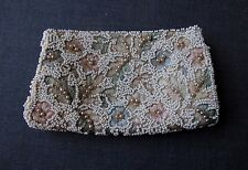 VINTAGE HAND EMBROIDERY & BEADED FLOWERS SILK BAG FOR PURSE