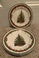 "Christopher Radko HOLIDAY CELEBRATIONS 8 3/8"" 'Tree'  Salad Plates Set of 4"