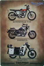 Triumph motorcycle/motorbike tin sign metal plaque, Bonneville T100 America TR6P