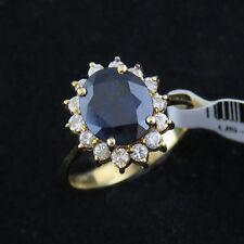 Nyjewel Tout Neuf 14k or Jaune 3ct Saphir et Diamant Halo Bague