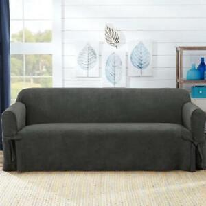 Sure Fit® Designer Suede Twill Sofa Slipcover in GRAY GREY
