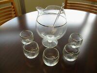 Vintage Brandy Snifter Pitcher & Glasses Set With Silver Trim