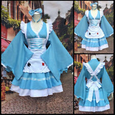 Alice In Wonderland Costume Women Lolita Maid Outfit  Wafuku Blue Dress Cosplay