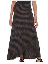 Apt.9 Striped Black Gray Tulip-Hem Maxi Skirt Long Tie Size XS X Small NWT
