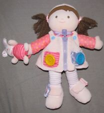 Carters Learn Dress Up Doll Plush Sensory Pink Bunny Zipper Button Buckles 13""