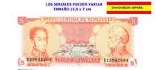 BILLETES DE VENEZUELA 5 Bs. BOLÍVARES BOLÍVAR NUEVO FUERA DE CIRCULACIÓN RARO