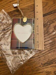 POTTERY BARN 2019 Plaid Enamel Heart Picture Frame Ornament Christmas Tree