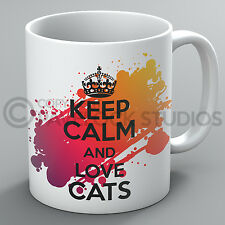 Keep Calm And Love Cats Mug Cat Lover Owner Kitty Kitten Kittens Pet Cup Gift