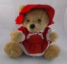 "Dakin Bear Plush Grandma Mrs. Claus Glasses Red Dress Sits About 10"" Tall 1986"