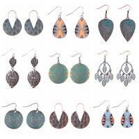 Vintage Women Carved Retro Boho Ethnic Tassel Drop Dangle Ear Stud Earrings