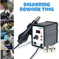 220V SMD 858D Soldering Repair Desoldering Station Hot Air Rework Tool 3 Nozzles