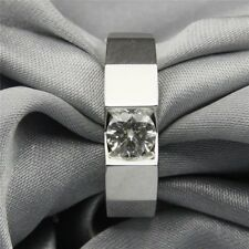 1.0CT Moissanite Round Channel Set Men's Wide Band Ring 14k White Gold Fn Silver
