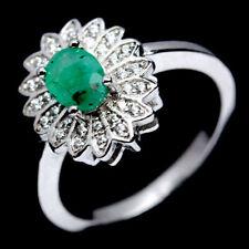 TOP EMERALD RING : Natürliche Grün Smaragd Ring Gr. 18 Sterlingsilber R270