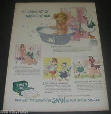 Print Ad 1945 SOAP Swan Magazine Gentle ART of Making Friends Baby in Tub