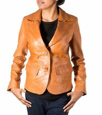 Ladies Brown Tan Two Button Fitted Classic Casual Tailored Blazer Leather Jacket