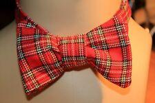 Handmade Bow Tie, Self Tie Vintage Fabric FaLL TarTaN#2 ReD with YeLLoW