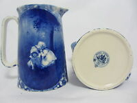 """ROYAL STONE FLOW BLUE 5.5"""" JUG IN THE DESIGN OF TWO GIRLS"""