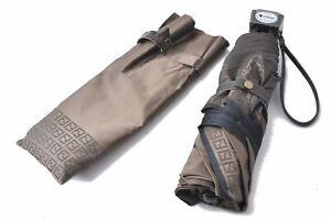 Authentic FENDI Zucca Folding Umbrella Brown C2421
