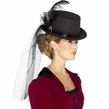 Deluxe Ladies Victorian Top Hat Black With Veil Feathers & Brooch AC