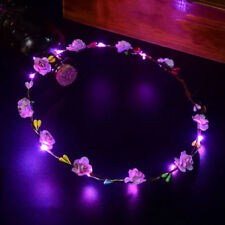 Wedding Xmas Party Women Girls LED Light Up Flower Headband Hair Wreath Garland