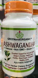ORGANIC Ashwagandha Root Powder GMO&Gluten Free/Halal/Veggie Capsules 500mg 60ct