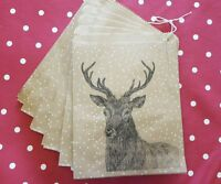 Stag Print Christmas Kraft Gift Bags  Vintage Style - Set of 10 Stocking Fillers