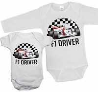 FUTURE F1 DRIVER Babygrow PERSONALISED ANY NAME Racing Vest Cars Sports Gift