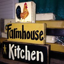 Farmhouse Kitchen stacking 2 x 4 wood blocks ROOSTER sign kitchen primitive deco