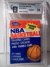 1986-87 Fleer Basketball Wax Pack GAI Graded Mint 10 Possible Michael Jordan RC
