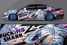 Car Side Full Color Graphics Vinyl Sticker Custom Body Decal Shark Attack
