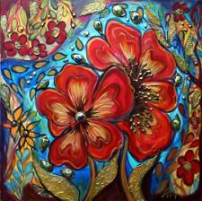 Original Flowers Painting FRIENDS Edwardian Boho Whimsical Gypsy Collage Art