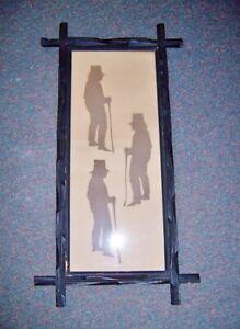 ANTIQUE FOLK ART SILHOUETTE FIGURE STUDY Men WITH walking sticks twig frame