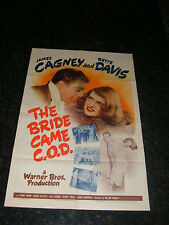 """THE BRIDE CAME C.O.D. Original 1941 Movie Poster, 27"""" x 41"""", C 7.5 Very Fine (-)"""