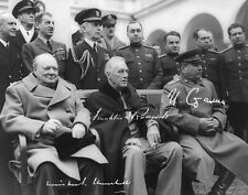 WINSTON CHURCHILL, FRANKLIN D. ROOSEVELT & JOSEF STALIN, Repro-Autogramm 20x25cm